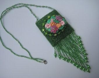 Amulet Bag,Medicine Bag,Wish Bag, hand beaded in greens