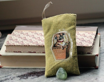 Pug in a basket - Lavender sachet in dark yellow grey linen with bookmark