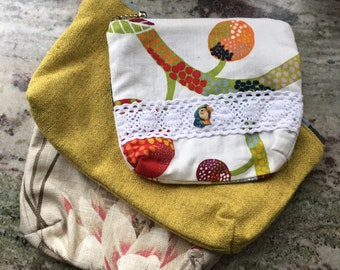 Necessities bag - Choice of 3 - Linen fabric - zipper pouch - toiletry bag - project bag - parrot - water lily