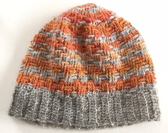 Crocheted hat - Choice of two - White or Grey and orange - Square or line pattern - beanie - skullcap - retro - wool - mössa