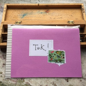 Card Swedish Birthday Congratulation Handwritten text Handmade envelope Grattis p\u00e5 f\u00f6delsedagen