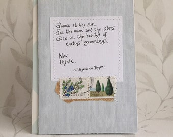 Glance at the sun, see the moon and ... - Hildegard von Bingen - Quote - Card with handwritten text - Wisdom - Choice of 2