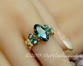 Blue Zircon, Vintage Swarovski Crystal, Rare Rounded Marquise Shaped Stone, Handmade Ring, December Birthstone