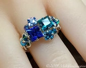 Handmade Ring in Swarovski Crystal Blues, Multi-Stone Ring, Available in SS or 14K GF