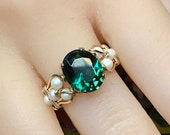 Green Quartz & Pearl Ring, Dark Emerald Green Handmade Ring Hydrothermal Green Quartz, May Birthstone