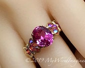 Hot Pink Sapphire Handmade Ring, with Blue Pearl or Rose Pink Crystals, Lab Created Sapphire Swarovski Pearl Ring