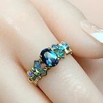 Rainbow Mystic Topaz Ring, Peacock Blue Mystic Topaz, Handmade Ring