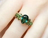 Emerald Green Quartz, Dark Emerald Green Handmade Ring, Hydrothermal Green Quartz, May Birthstone