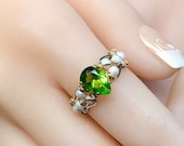Peridot and Pearl Handmade Ring, Lab Created Peridot Quartz & Swarovski Pearl, August Birthstone