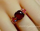 Dark Red & Light Rose, Swarovski Crystal Handmade Ring, Original Signature Design