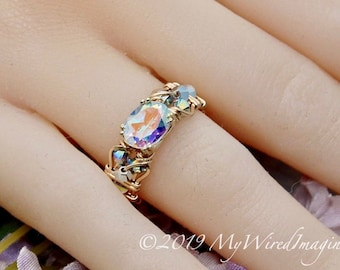 Mercury Mystic Topaz, Handmade Ring, Opalescent Mystic Topaz Ring, in 14K Gold or Sterling Silver