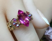 Hot Pink Sapphire Ring, Lab Created Sapphire, Genuine Swarovski Crystals, Sterling Silver or 14K GF, September October Birthstone