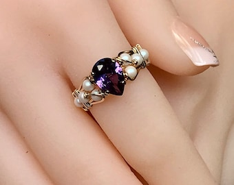 Alexandrite and Pearl, Hand Crafted Ring, Wire Wrapped Ring in 14k GF or Sterling Silver, Lab Alexandrite & Swarovski Pearl, June Birthstone