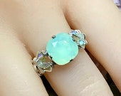 Chrysolite Opal, Pale Green Swarovski Crystal, Handmade Ring in Sterling Silver or 14K GF