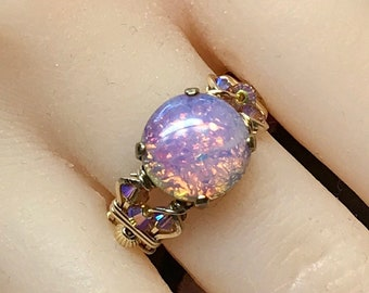 Pink Fire Opal, Vintage West German Glass Ring, Handmade Opal Ring, Unique Engagement Ring, October Birthstone