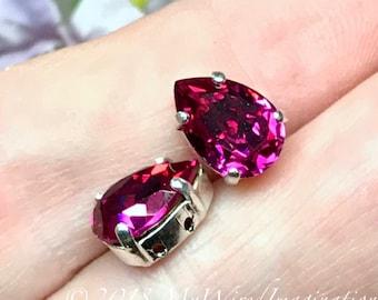 Fuchsia Pink, Vintage Swarovski Crystal, 2 Pcs, 10x7mm Pear 4320, With Prong Setting, Crystal Sew On,Rhinestone Setting, Jewelry Making