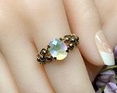 Rainbow Quartz Doublet, Handmade Ring, Rainbow Moonstone, Checkerboard Gemstone
