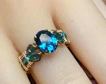 Blue Zircon, Lab-Created London Blue Gemstone, Handmade Ring, December Birthstone, Unique Engagement Ring