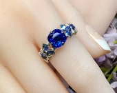 LAST ONE, Sapphire Blue, Vintage Swarovski Crystal Handmade Ring, Unique Engagement, September Birthstone Ring