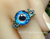 Handmade 'Eye' Ring, Glass Eyeball Ring, Handmade Ring, Unique Statement Ring, Halloween Gift