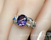 Alexandrite and Crystal Ring, Lab Created Color Change Gemstone, Lab Alexandrite, June Birthstone