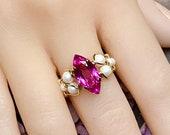 Hot Pink Sapphire & Pearl Handmade Ring Lab Created Sapphire Swarovski Crystal Pearls Sterling Silver or 14K GF September October Birthstone