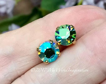 Peridot AB, Vintage Swarovski Crystal, 34ss 7.2mm,  , Swarovski Sew On, Peridot Green AB, August Birthstone, Bead Embroidery Component