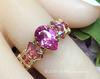 Stunning Hot Pink Sapphire Handmade Ring, with Rose Pink Crystals, Lab Created Sapphire & Swarovski Crystal  Ring