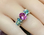 Pink Sapphire and Swarovski Crystal Handmade Ring, Bright Pink and Lt Turquoise, September October Birthstone