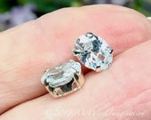 Swarovski Transparent Crystal, 2 pcs 8x6mm Oval, Silver or Gold Plated Prong Setting, Vintage Swarovski Crystal, , Bead Embroidery