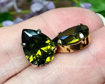 Peridot Dark Olive CZ, 14x10mm Pear, Faceted Gemstone, Your Choice Silver or Gold Plated Sew On Setting, Jewelry Supply, Bright Olive Green
