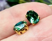 2 Pcs Swarovski Erinite, 8x6mm Oval, Silver or Gold Plated Prong Setting, Vintage Swarovski Blue Green Crystal  Erinite, Bead Embroidery