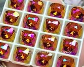 Tangerine Purple Haze, Swarovski Crystal 10mm, Fancy Cusion Cut Square 4470, Swarovski Setting,  Swarovski Crystal, Bead Embroidery