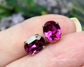 Fuchsia Pink Oval, Swarovski Crystal 2 pcs 10x8mm, Art 4120 With Prong Setting, Sew On Setting, , , Bead Embroidery Component