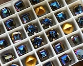 Vitrail Dark, Rare Vintage Double Cut 8mm Square Octagon, Art 4671  Vintage Swarovski Crystal, 1, 2, 4 or 6 Pieces With or Without Setting