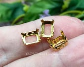 8x6mm Octagon Settings, Art 4600,  3 Pieces Silver or Gold Plated,  , Gemstone Crystal s, Bead Embroidery Component