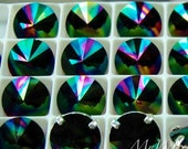 Swarovski Rainbow Dark, 10mm or 12mm Rivoli 1122, Genuine Swarovski in Setting, Crystal in Settings, Sew On Rivoli, Rainbow Dark 1122 Rivoli