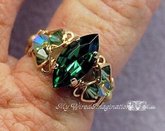 Tourmaline Forest Green, Swarovski Navette-Marquise, Handmade Crystal Ring, Dark Emerald Green