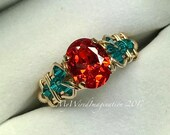 Sapphire Padparadscha Orange CZ, Handmade Ring, Blue Zircon Swarovski Crystal, Unique Engagement, Anniversary Ring