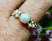 Swarovski Crystal Pearl Ring, Pearlescent White Pearl, Handmade Ring, Unique Engagement Anniversary Gift