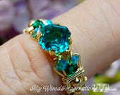 Blue Zircon Handmade Ring, Vintage West German Crystal, December Birthstone
