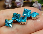 Aquamarine, 2 Pcs Vintage Swarovski Crystal, 8mm Square, With Prong Setting, March Birthstone, Bead Embroidery Component