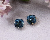Swarovski Crystal Denim Blue, 10mm 4470 Cushion Cut Square in a 4 Hole Prong Setting Sew On, Bead Embroidery Component