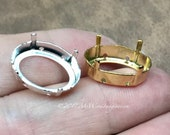 2 Pcs 16x11mm Oval, Vintage Brass, Silver or Gold Plated Setting, for 4100 & 4120 Oval crystals, Empty Setting, Rare Hard to Find Setting