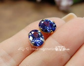 LAST ONE, Tanzanite CZ, 1 Piece, 10x8mm Faceted Oval Gemstone, with Silver or Gold Plated Setting, December Birthstone