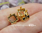 3pcs Silver or Gold Plated s, 8mm Square, Articles 4400 4410 Empty Settings, Nickel Free Prong Setting, Jewelry Finding, Bead Embroidery