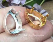 2 Pieces, Silver or Gold Plated Settings, Fits Pear Shape 4320 Crystals, 18x13mm Empty Settings