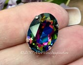 Swarovski Electra, Vitrail Watermelon, Swarovski 18x13mm 4120 Oval, w/Silver or Gold Plated Sew On Prong Setting, , Bead Embroidery