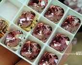 Antique Pink,Swarovski Crystal 10mm, 4470 Square With Prong Setting, Sew On Crystal, Crystal Setting, , , Bead Embroidery Component
