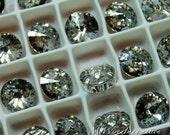 Swarovski Crystal Silver Patina, Rivoli 10mm 1122, Prong Setting, Genuine Swarovski in Setting, Bead Embroidery Component
